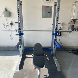 Pro Half Rack With Bench, Bar, Weights, Floorguard for Sale in Corona, CA