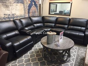 Power Breathable Leather Sectional Sofa, Black, SKU# LJMEUROBLKTC for Sale in Norwalk, CA