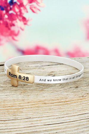 Romans 8:28 Two Tone Cross Bible Verse Bracelet for Sale in Troy, VA