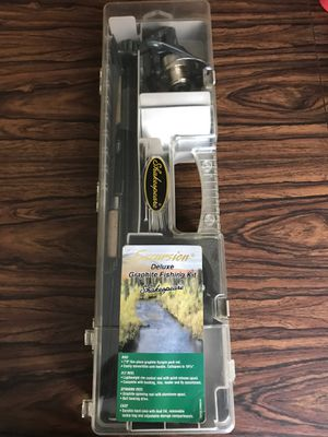 Excursion deluxe graphite fishing kit with rod fly real and spinning reel plus case for Sale in Arlington, TX