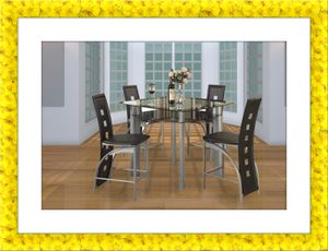 Counter height glass dining table with 4 chairs for Sale in Rockville, MD