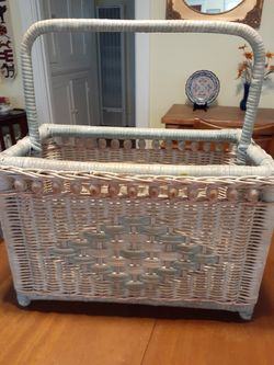 Large 8.5x9.5x15.5. Shabby chic farm house Wicker rattan magazine rack for Sale in San Diego,  CA