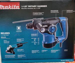 Makita 7 Amp 1-1/8 in. Corded SDS-Plus Concrete/Masonry Rotary Hammer Drill with 7.5 Amp 4-1/2 in. Angle Grinder and Hard Case for Sale in Fairview, TX