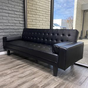 Black Leather Futon couch for Sale in Orange, CA