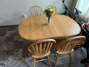 Solid Oak table with chairs and leaf for Sale in Vermillion, SD