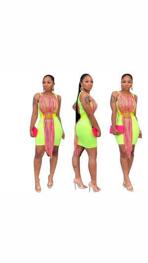 Neon green fringe party dress for Sale in Miami, FL