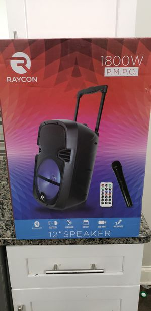 Brand New in Box Portable Rolling Bluetooth with12 Inch Subwoofer Speaker Wireless Mic. LED and Remote 1800W for Sale in Newark, NJ