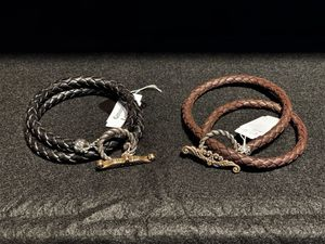 2 Sterling Silver .925 Black and Brown Genuine Leather Toggle Necklace 17 Inch for Sale in Los Angeles, CA