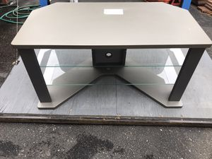 Gray TV stand with two glass shelves for Sale in Pawtucket, RI