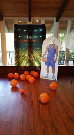 Basketball themed party props 6 foot cardboard cut out basketball player, 5 x 7 Basketball Court backdrop for a Photo Booth for Sale in Alamo, CA