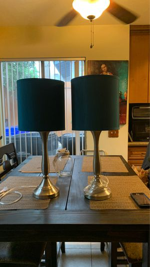 Silver lamps turquoise shade for Sale in San Diego, CA
