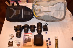 Nikon D7000 camera with 4 lenses, 2 camera bags and miscellaneous equipment for Sale in Seattle, WA