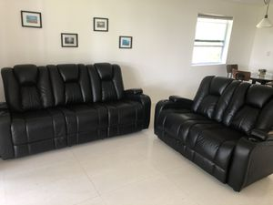 Leather couch and love seat. Recliner, electronic sofa for Sale in Southwest Ranches, FL