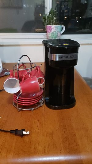 Coffee maker with a cup and saucer set for Sale in Bethesda, MD