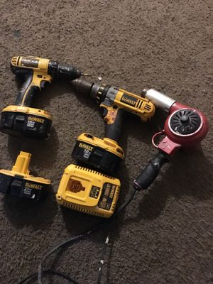 2 dewalt drills extra battery and charger. And 1 heat gun for Sale in Washington, DC