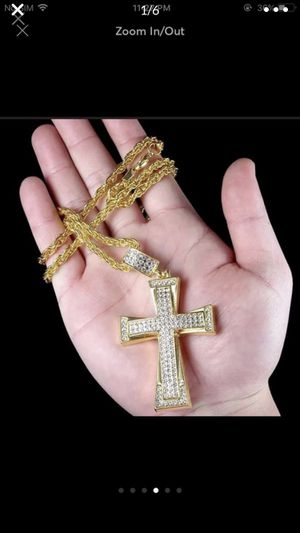 Gold plated cross necklace chain pendant for Sale in Silver Spring, MD