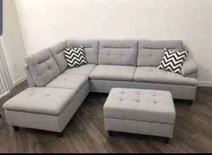 Grey linen sofa sectional with storage ottoman for Sale in Boca Raton, FL