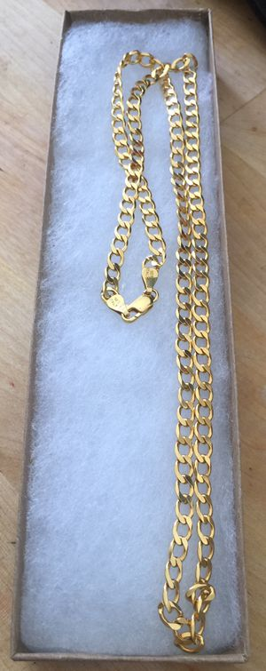 24 in 925 Italian Sterling Silver cut curb chain plated with 24K gold for Sale in La Puente, CA