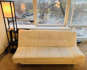 White faux leather futon for $90 for Sale in Chicago, IL