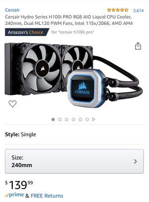 Corsair h100i pro rgb 240mm for Sale in Fresno, CA