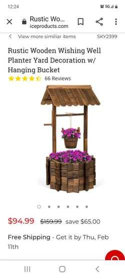 Rustic Wooden Wishing Well Planter Yard Decoration W/ Hanging Bucket for Sale in Cleveland,  OH