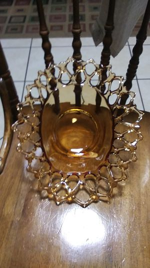 VINTAGE Westmoreland Amber Doric Glass Blown Open Lace Centerpiece Bowl Elegant!!! for Sale in Indiana, PA