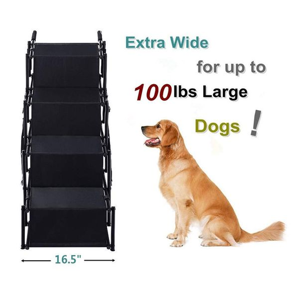 Pet Dog Car Step Stairs, Accordion Metal Frame Folding Pet Ramp for Indoor Outdoor Use, Lightweight Portable Auto Large Dog and Cat Ladder for Cars,
