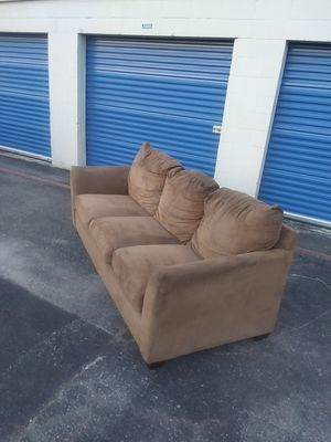 Free Delivery - tan microfiber couch sofa modern for Sale in Houston, TX
