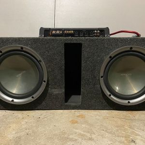 "Dual Kenwood 10"" Car Subwoofers w/ Speaker Box and Amplifier for Sale in Elmwood Park, NJ"