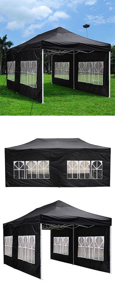 New $190 Heavy-Duty 10x20 Ft Outdoor Ez Pop Up Party Tent Patio Canopy w/Bag & 6 Sidewalls, Black