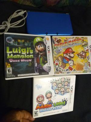 3ds xl with 4 Mario games/mariokart7/Luigi's Mansion/papermario/Luigi&mariosdreamteam/charger for Sale in Escondido, CA