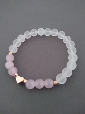 Pink catseye bead bracelet with rose gold heart for Sale in Nashua, NH