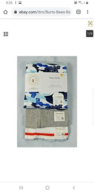 Baby Infant Burp Cloth 3 Pack Blue Red Grey Camo Soft Organic Cotton for Sale in Olmsted Falls, OH