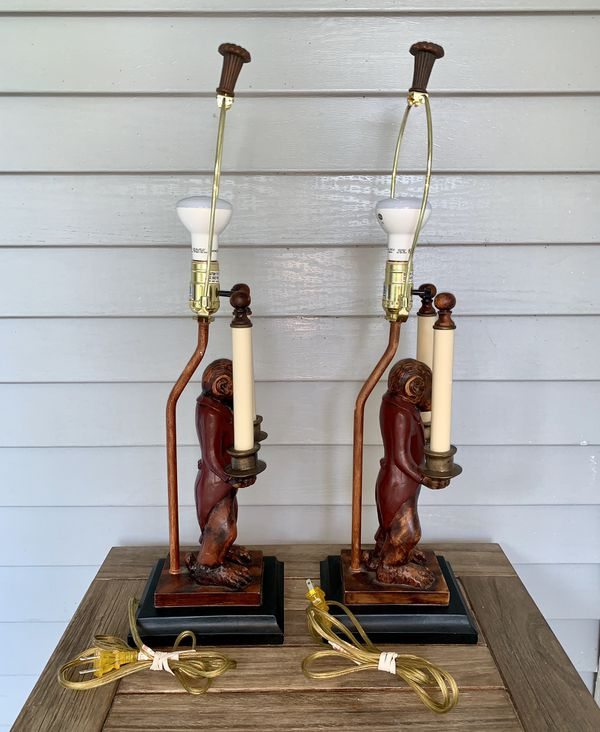 Monkey Butler Table Lamps Set Of 2 Works For Sale In