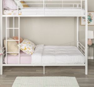 New!! Bed, twin bed, twin over twin bunk bed, twin bunk bed , metal twin bunk bed, bedroom furniture , white for Sale in Phoenix, AZ