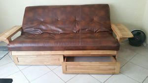 Futon leather & oak for Sale in Osprey, FL