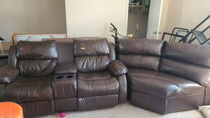 Leather Reclining Sofa for Sale in Keyport, NJ