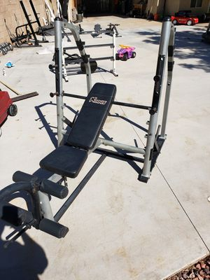 Weight bench, squat rack, leg workout for Sale in Glendale, AZ