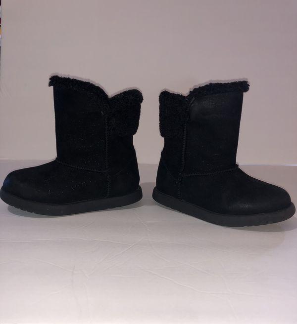 Size 9 little girls black glitter boots
