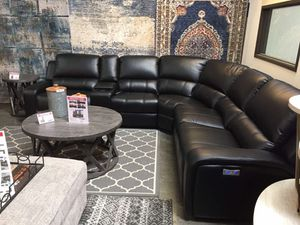 Power Breathable Leather Sectional Sofa, Black for Sale in Norwalk, CA
