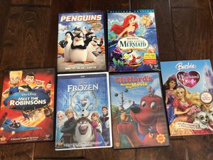 Set of 6 DVDs - The Little Mermaid, Penguins, Barbie, Meet the Robinsons, Frozen, Cliffords for Sale in Fountain Valley, CA