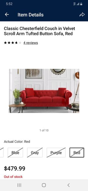 "Red fabric ""Chesterfield"" couch for Sale in Hartland, ME"