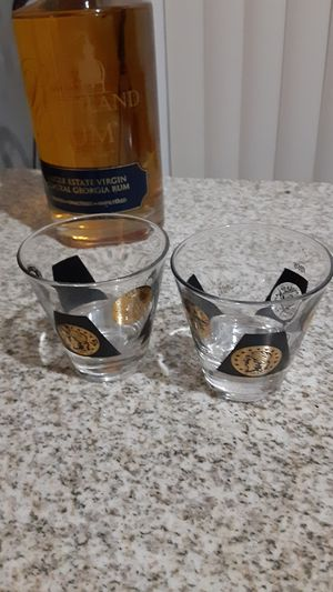 Vintage mid-century modern black and gold drinking glasses for Sale in Fort Lauderdale, FL