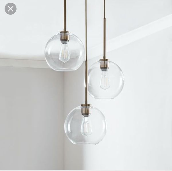 New west elm Sculptural Glass Globe Pendant Lights Mid Century Modern Clear/Nickel