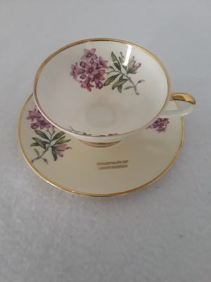 VERY RARE ANTIQUE RHEINTAL ENGLAND FINE BONE CHINA TEACUP & SAUCER MARKED FOR GERMAN PRINCIPALITY OF LIECHTENSTEIN for Sale in Pompano Beach, FL