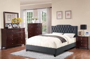 Queen Size Bed Frame, Blue Grey Color for Sale in Santa Ana, CA