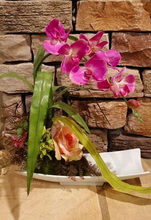 "Artificial orchid 14"" inches tall, adjustable flexible stem, decorative plant for Sale in Chino Hills, CA"