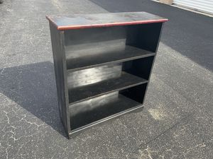 Black Solid Wooden Three tier book shelf storage shelving, perfect for the garage! Very sturdy. Dimensions: 31x10x36in for Sale in Royal Palm Beach, FL