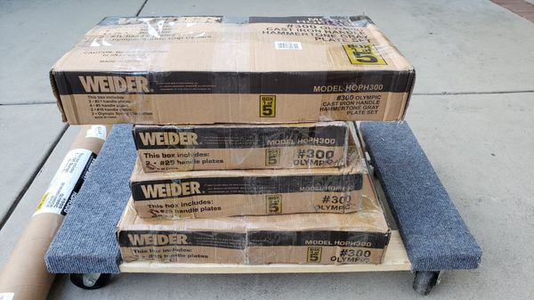 Weider Cast Iron Olympic Hammertone Weight Set 300 lb. brand new in box $700