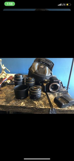 Selling a Sony A230 with a 50mm lens, 18-55mm lens and 55-200mm lens, comes with battery, Battery Charger, lens hood and camera bag for Sale in San Leandro, CA